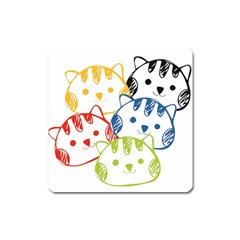 Kawaii Cat Faces Magnet (square)