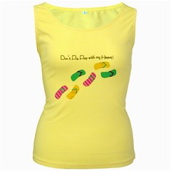 Flip Flop Womens  Tank Top (Yellow)
