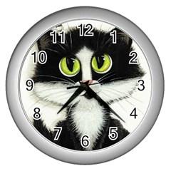Curiouskitties414 Wall Clock (Silver)