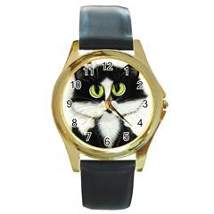 Curiouskitties414 Round Metal Watch (Gold Rim)