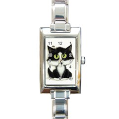 Tuxedo Cat By Bihrle Rectangular Italian Charm Watch