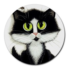 Tuxedo Cat by BiHrLe 8  Mouse Pad (Round)