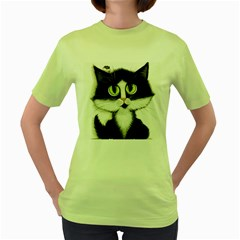 Tuxedo Cat by BiHrLe Womens  T-shirt (Green)