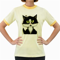 Tuxedo Cat By Bihrle Womens  Ringer T Shirt (colored)