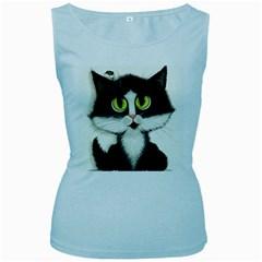 Tuxedo Cat by BiHrLe Womens  Tank Top (Baby Blue)
