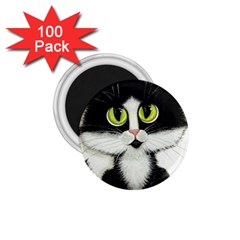 Tuxedo Cat By Bihrle 1 75  Button Magnet (100 Pack)