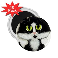Tuxedo Cat by BiHrLe 2.25  Button Magnet (10 pack)