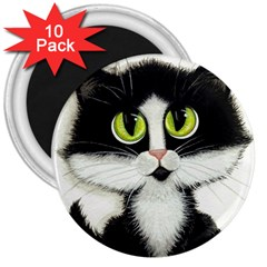 Tuxedo Cat by BiHrLe 3  Button Magnet (10 pack)