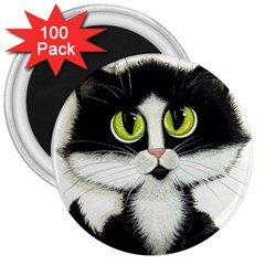 Tuxedo Cat by BiHrLe 3  Button Magnet (100 pack)