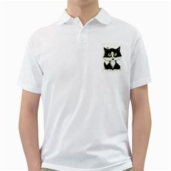 Tuxedo Cat by BiHrLe Mens  Polo Shirt (White)