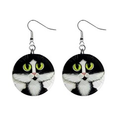 Tuxedo Cat by BiHrLe Mini Button Earrings