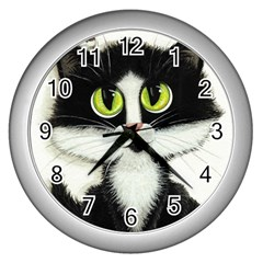 Tuxedo Cat By Bihrle Wall Clock (silver)