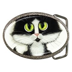 Tuxedo Cat by BiHrLe Belt Buckle (Oval)
