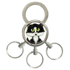 Tuxedo Cat by BiHrLe 3-Ring Key Chain