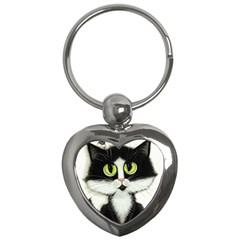 Tuxedo Cat by BiHrLe Key Chain (Heart)