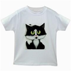 Tuxedo Cat by BiHrLe Kids' T-shirt (White)