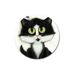 Tuxedo Cat by BiHrLe Magnet 3  (Round)