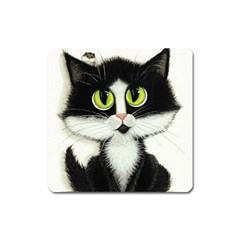 Tuxedo Cat by BiHrLe Magnet (Square)