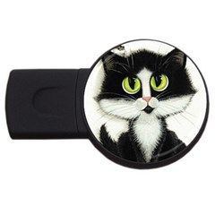 Tuxedo Cat by BiHrLe 1GB USB Flash Drive (Round)
