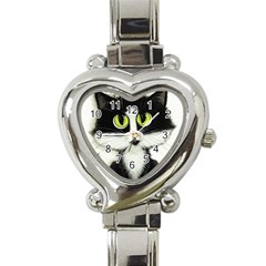 Tuxedo Cat by BiHrLe Heart Italian Charm Watch