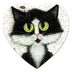 Tuxedo Cat by BiHrLe Jigsaw Puzzle (Heart)