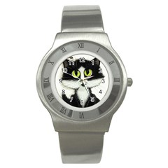 Tuxedo Cat by BiHrLe Stainless Steel Watch (Unisex)