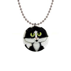 Tuxedo Cat By Bihrle Button Necklace