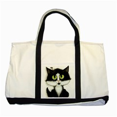 Tuxedo Cat By Bihrle Two Toned Tote Bag