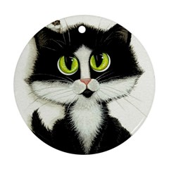 Tuxedo Cat by BiHrLe Round Ornament (Two Sides)