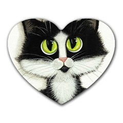 Tuxedo Cat by BiHrLe Mouse Pad (Heart)