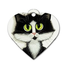 Tuxedo Cat by BiHrLe Dog Tag Heart (Two Sided)