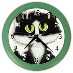 Tuxedo Cat by BiHrLe Wall Clock (Color)