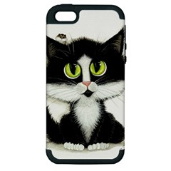 Tuxedo Cat by BiHrLe Apple iPhone 5 Hardshell Case (PC+Silicone)