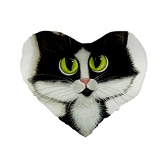 Tuxedo Cat by BiHrLe 16  Premium Heart Shape Cushion