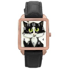 Tuxedo Cat by BiHrLe Rose Gold Leather Watch