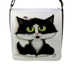 Tuxedo Cat by BiHrLe Flap Closure Messenger Bag (Large)