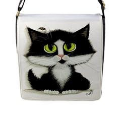 Tuxedo Cat By Bihrle Flap Closure Messenger Bag (large)