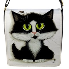 Tuxedo Cat by BiHrLe Flap closure messenger bag (Small)