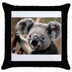 Koala Black Throw Pillow Case