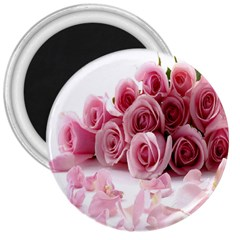 Pink Roses 3  Button Magnet