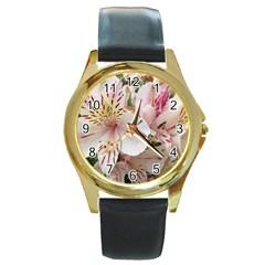 Flower Alstromeria Round Metal Watch (gold Rim)