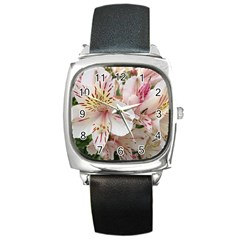 Flower Alstromeria Square Leather Watch