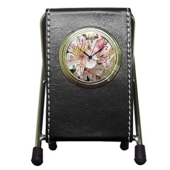 Flower Alstromeria Stationery Holder Clock