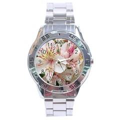 Flower Alstromeria Stainless Steel Watch (men s)