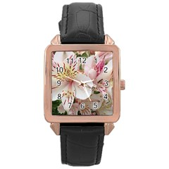 Flower Alstromeria Rose Gold Leather Watch