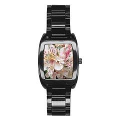 Flower Alstromeria Men s Stainless Steel Barrel Analog Watch