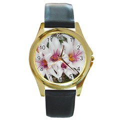 Bloom Cactus  Round Metal Watch (Gold Rim)