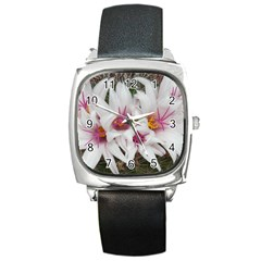 Bloom Cactus  Square Leather Watch