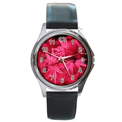 Red Autumn Round Metal Watch (Silver Rim)