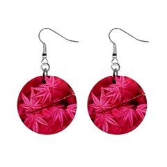 Red Autumn Mini Button Earrings
